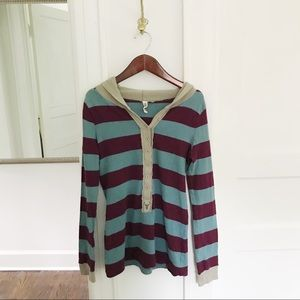 Free People Rugby Style Hooded Long Sleeve Tee